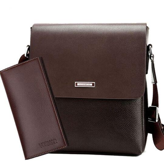 """Мужская сумка """"VORMOR"""", коричневая, с кошельком, П3793"""