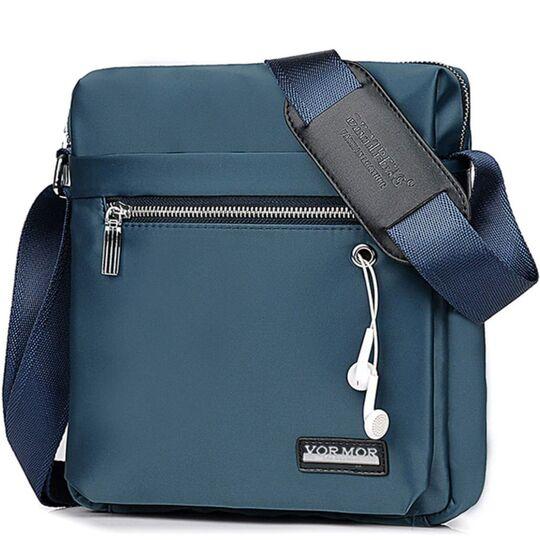 """Мужская сумка """"VORMOR"""", синяя, П3798"""