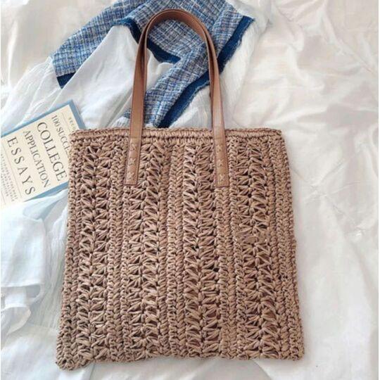 Женская соломенная сумка-шопер, П3804