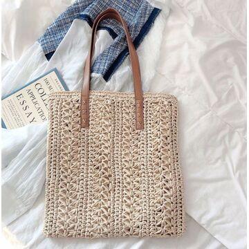 Женская соломенная сумка-шопер, П3805