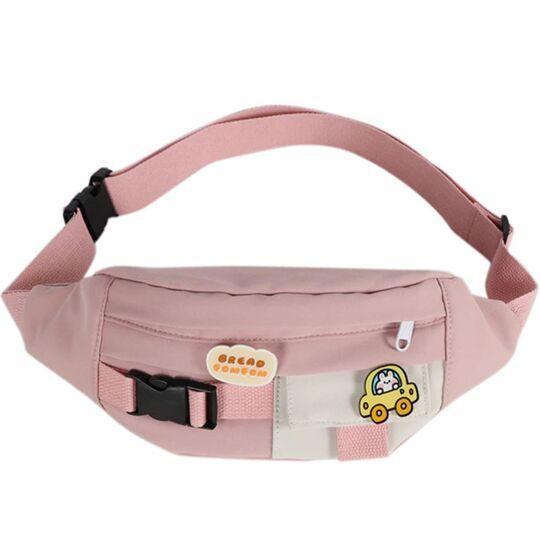 Женская бананка, сумка на пояс, розовая П3865
