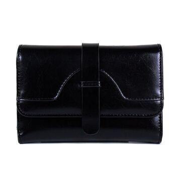 Женский кошелек из кожи, черный П3923