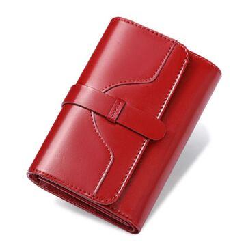 Женский кошелек из кожи, красный П3924