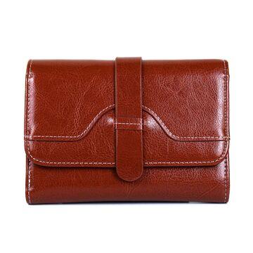 Женский кошелек из кожи, коричневый П3929