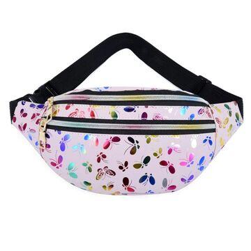 """Женская поясная сумка, бананка """"Бабочки"""", розовая П3932"""