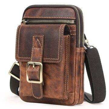 "Мужская сумка на плечо ""Contact'S"", коричневая П4052"