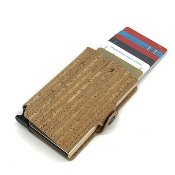 Визитница RFID, из кожи, коричневая П4109