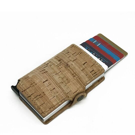 Визитница RFID, из кожи, коричневая П4112
