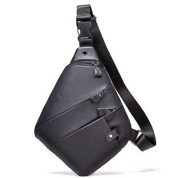Мужская сумка слинг из кожи, черная П4116
