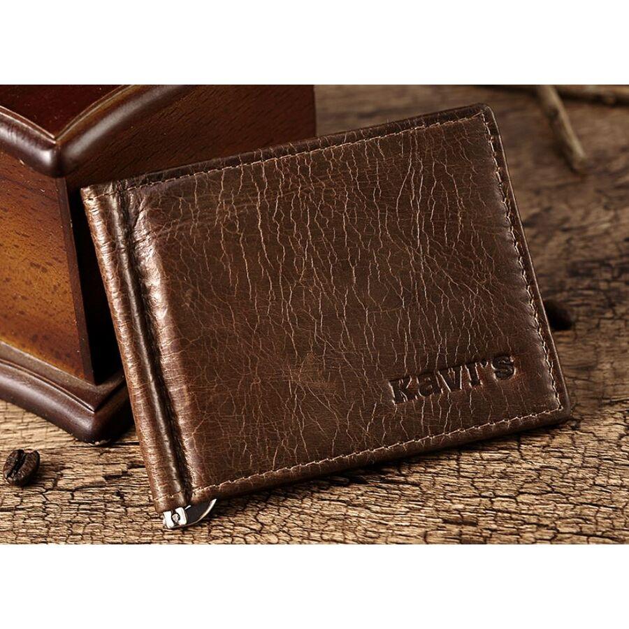 Мужские кошельки - Зажим KAVIS, кошелек коричневый П0352