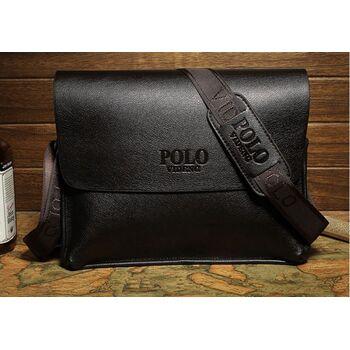 Мужская сумка портфель POLO, черная 0472