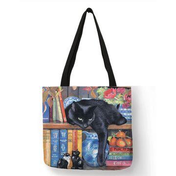 """Женская сумка-тоут льняная """"Черная кошка"""" П0572"""