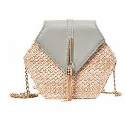 Женская сумка соломенная, голубая 0578