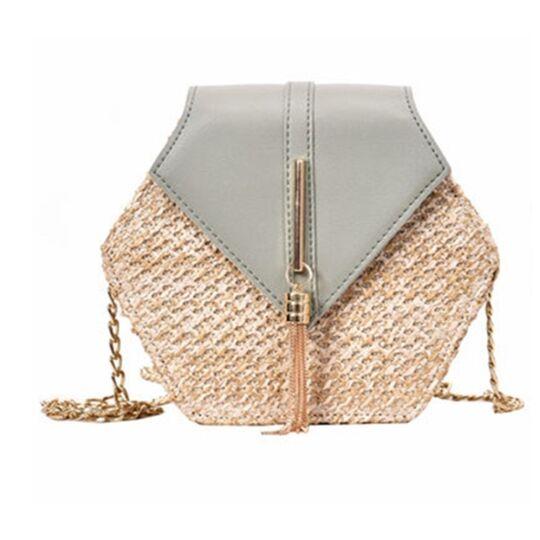 Женские сумки - Женская сумка соломенная, голубая П0578