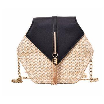 Женская сумка соломенная, черная П0579