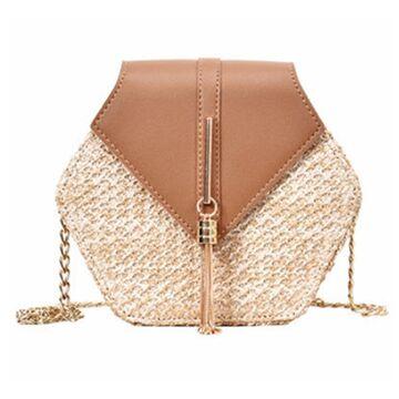Женская сумка соломенная, коричневая П0580