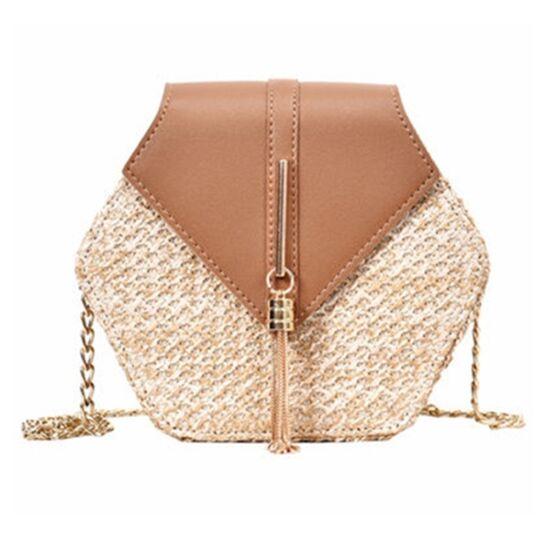Женские сумки - Женская сумка соломенная, коричневая П0580