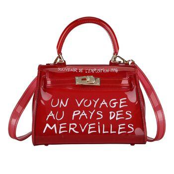 Женская сумка прозрачная, красная 0642