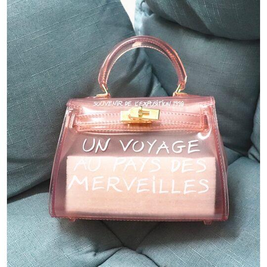 Женские сумки - Женская сумка прозрачная, розовая П0643