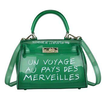 Женская сумка прозрачная, зеленая 0644