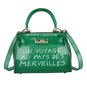 Женская сумка прозрачная, зеленая П0644