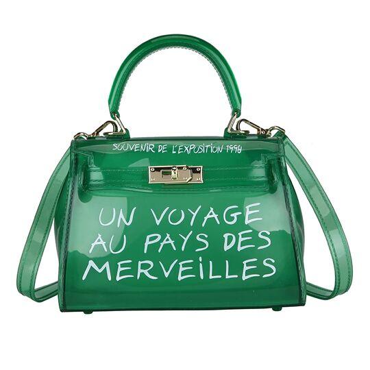 Женские сумки - Женская сумка прозрачная, зеленая П0644
