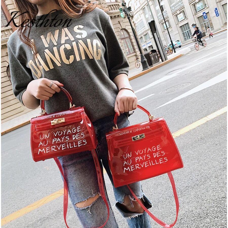 Женские сумки - Женская сумка прозрачная, розовая П0665