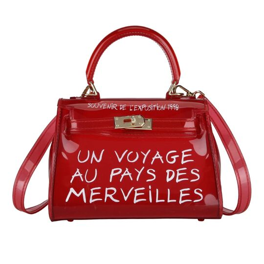 Женские сумки - Женская сумка прозрачная, красная П0666