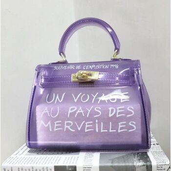 Женская сумка прозрачная, фиолетовая 0668