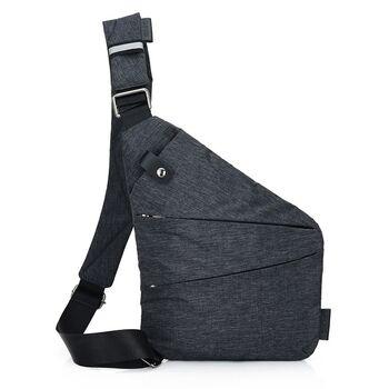 Мужская сумка слинг на левое плечо, черная - 0687
