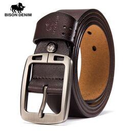 Мужской ремень BISON DENIM, коричневый 0851