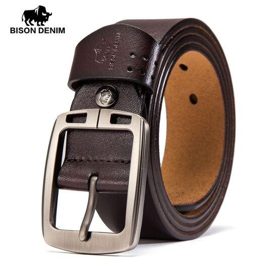 Мужские ремни и пояса - Мужской ремень BISON DENIM, коричневый П0851