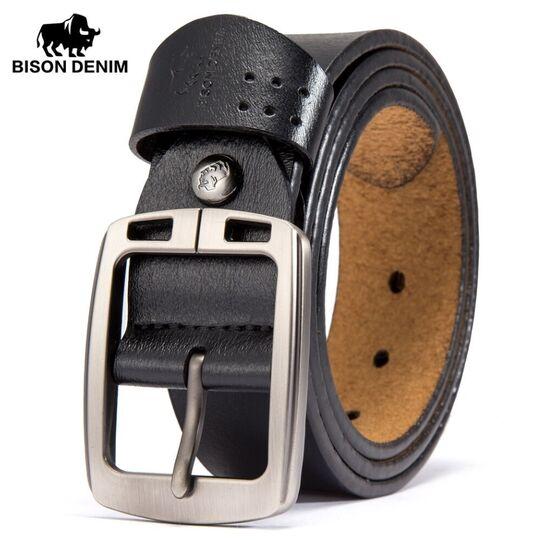 Мужские ремни и пояса - Мужской ремень BISON DENIM, черный П0852