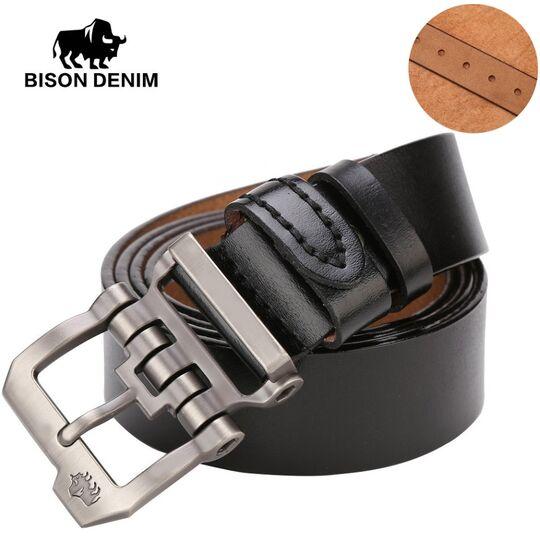 Мужские ремни и пояса - Мужской ремень BISON DENIM, черный П0853